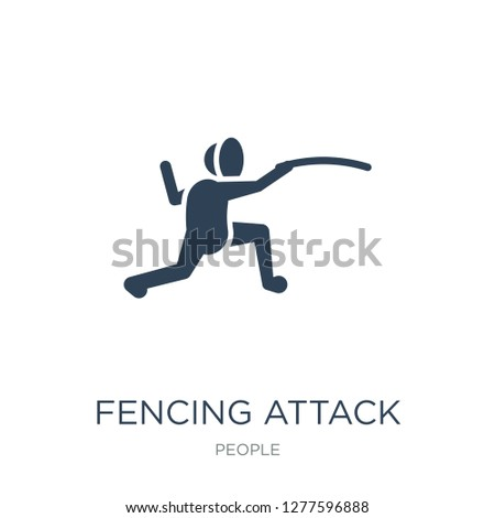 fencing attack icon vector on white background, fencing attack trendy filled icons from People collection, fencing attack vector illustration
