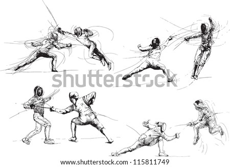 Fencing. Collection of illustrations isolated on white background.