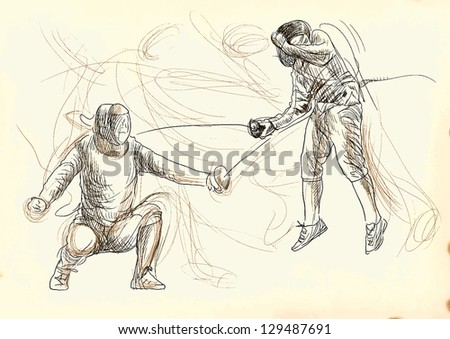 Fencing duel. /// A hand drawn illustration converted into vector. Vector is editable in 5 layers.