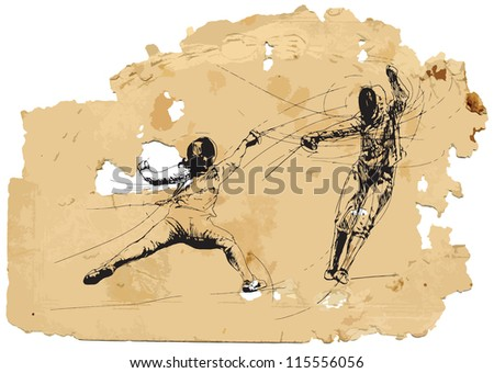 Fencing duel. A vector image is composed of two editable layers - background with torn paper and sketch of swords.