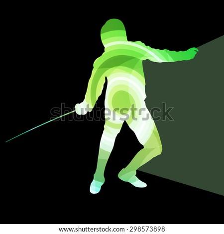 fencing man silhouette vector