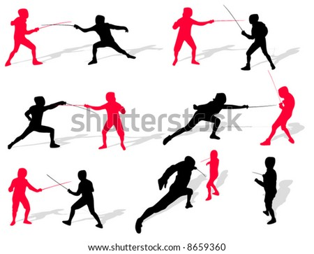 Fencing people silhouettes on a white background - stock vector