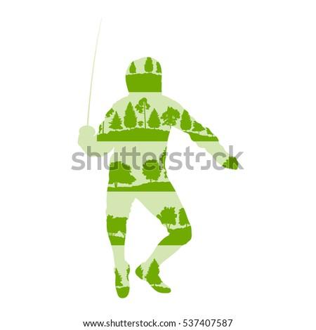 fencing player man vector