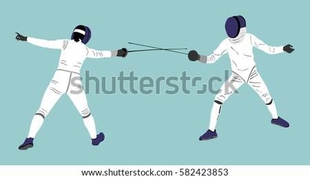 fencing player portrait vector