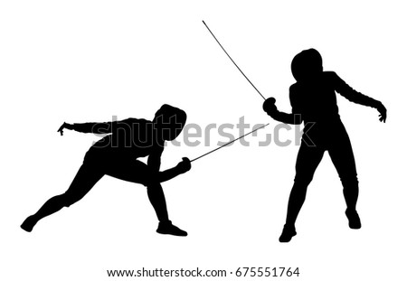 fencing player portrait vector