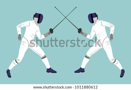 fencing players vector