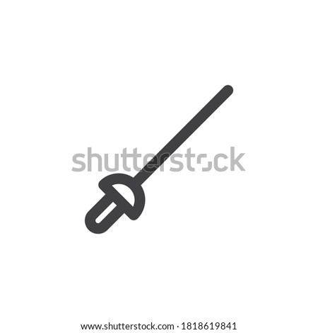 Fencing rapier line icon. linear style sign for mobile concept and web design. Fencing sword outline vector icon. Symbol, logo illustration. Vector graphics