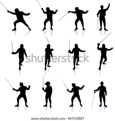 Fencing Silhouette Collection Original Vector Illustration