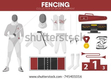 Fencing sport equipment swordsman fencer garment accessory vector icons set