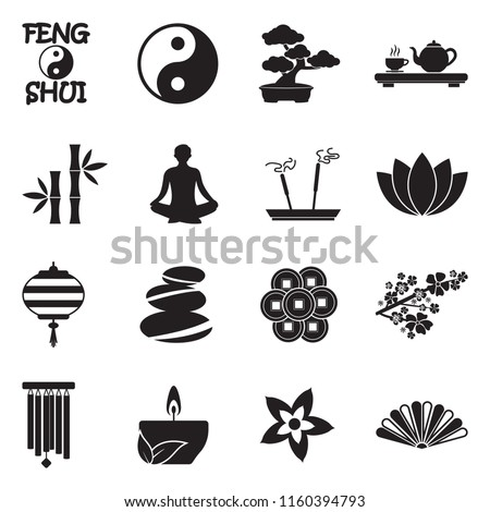 feng shui icons black flat
