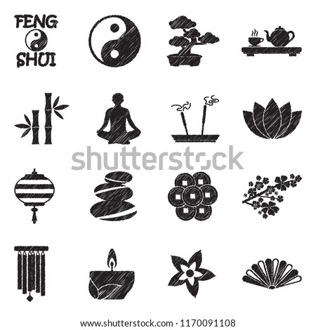 feng shui icons black scribble