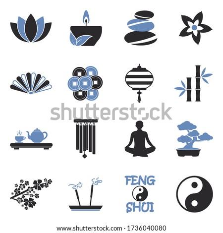 feng shui icons two tone flat