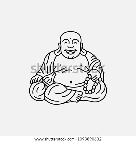 Feng Shui talisman. Hotei Happy Laughing Buddha. Vector line outline illustration