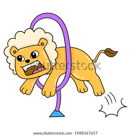 ferocious lion playing circus jumping stunt, vector illustration art. doodle icon image kawaii. Stock photo ©