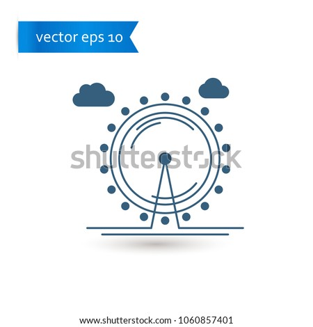 ferris wheel. ferris wheel icon. ferris wheel vector. flat style. sign design vector. sign design. Vector EPS 10