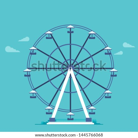 Ferris wheel in the flat style vector