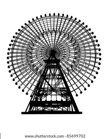Ferris wheel silhouette - stock vector
