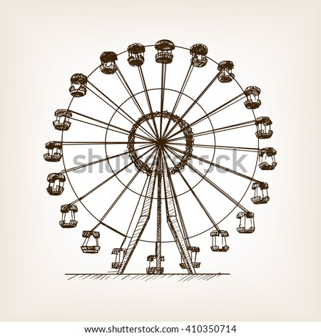 Ferris wheel sketch style vector illustration.