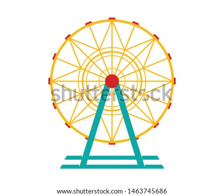 Ferris wheel Vector Icon. Ferris wheel icon in cartoon style isolated on white background