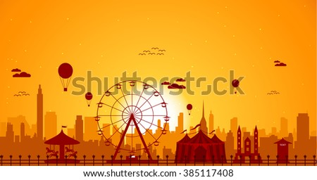 ferris wheel with cityscape at