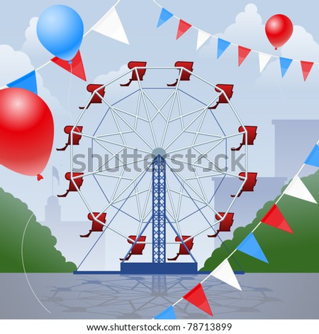 Ferris wheel with decorative pennants and balloons