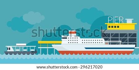 ferry boat pier flat design