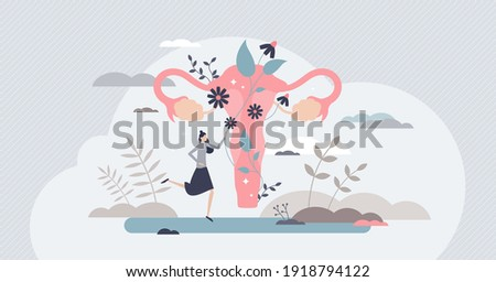 Fertility as medical reproduction healthcare and checkup tiny person concept. Woman gynecology organ health and wellness examination vector illustration. Decorative and abstract uterus visualization. Stock photo ©