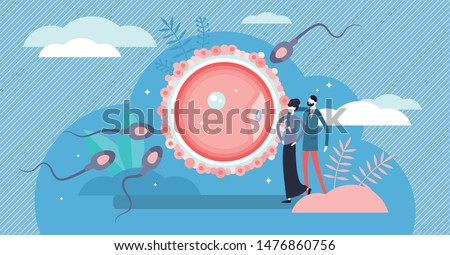 Fertilization vector illustration. Flat tiny baby planning persons concept. Pregnancy development and human reproduction symbolic visualization. New embryo life beginning and parenthood healthcare.
