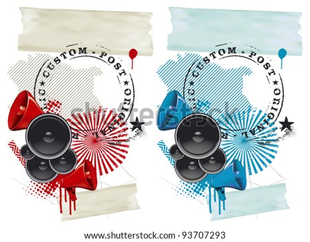 fest grunge background with speakers and megaphone