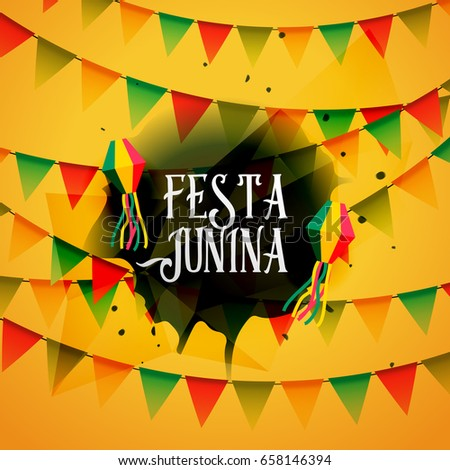 festa junina background with colorful garlands #658146394