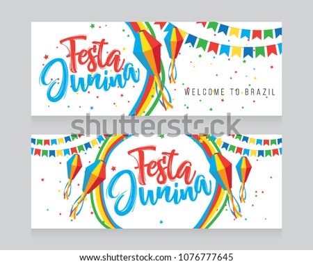 Festa Junina Banner Design Set Vector Illustration