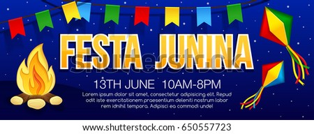 Festa junina banner with traditional paper bonfire, flags and lanterns. Latin American holiday. Brazil Festival. Vector banner.