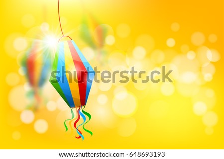 Festa Junina Brazil holiday design with traditional decorations and place for your text. Vector illustration.