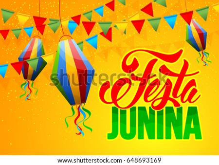 Festa Junina Brazil holiday design with traditional decorations. Vector illustration.