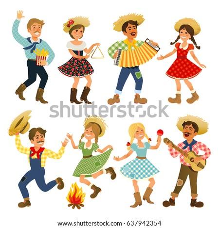 Shutterstock Festa Junina Brazil June Festival. Folklore Holiday. Characters. Vector Illustration.