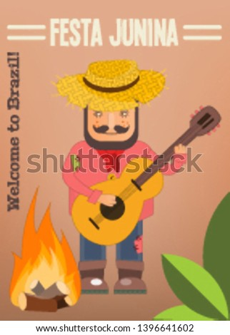 Festa Junina - Brazil June Festival. Poster for Folklore Holiday. Funny  Hick in Straw Hat Plays the Guitar near Bonfire. Vector Illustration.