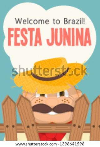 Festa Junina - Brazil June Festival. Poster for Folklore Holiday. Funny  Hick in Straw Hat. Vector Illustration.
