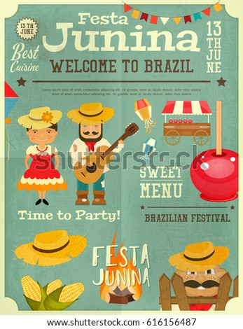 Festa Junina - Brazil June Festival. Retro Poster Infographic of Folklore Holiday. Vector Illustration.
