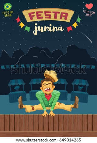 Festa Junina (Brazilian June Party) - A5 proportional template / Made in Brazil - Made with love - Creative vector cartoon template for june party themes