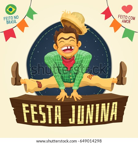 Festa Junina (Brazilian June Party) - Happy peasant jumping over sign / Made in Brazil - Made with love - Detailed vector cartoon for june party themes