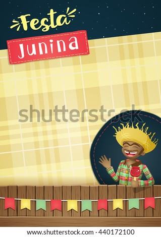 Festa Junina, brazilian june party Template or invite - A5 - EPS 10 theme for various applications.