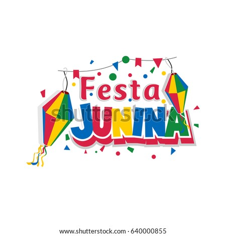 Festa Junina Carnival  typography in Flat style on White Background. vector Illustration eps.10 #640000855
