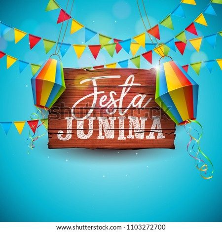 Festa Junina Illustration with Party Flags and Paper Lantern on Blue Background. Vector Brazil June Festival Design for Greeting Card, Invitation or Holiday Poster. - Shutterstock ID 1103272700