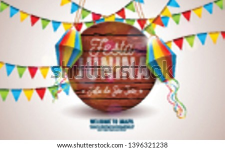 Festa Junina Illustration with Party Flags and Paper Lantern on Yellow Background. Vector Brazil June Festival Design Typography Letter on Vintage Wood Board for Greeting Card, Invitation or Holiday #1396321238