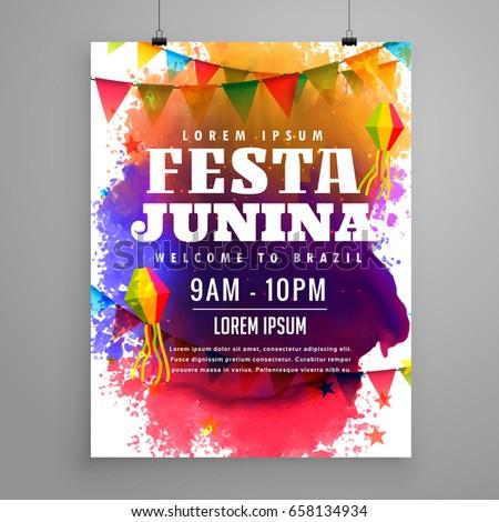 festa junina invitation flyer template design