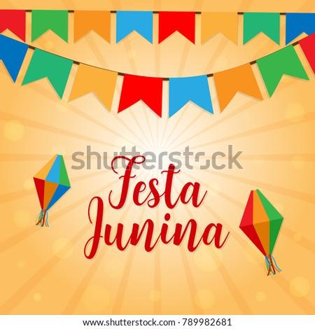 Festa Junina june Brazil festival vector background with garlands in Brazil flag colors #789982681