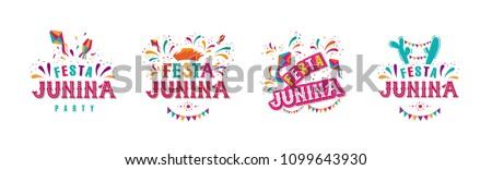 Festa junina party design set. Vector background with fireworks and garland. Vector illustration. For poster, card, web, invitation.