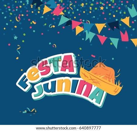 June festival of brazil festa junina background with confetti festa junina party greeting background traditional brazil june festival vector illustration m4hsunfo