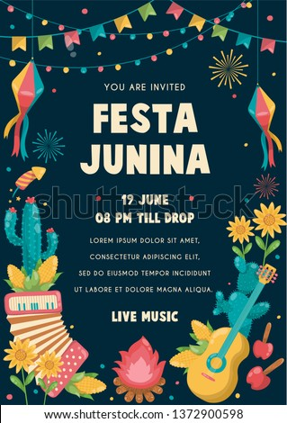 Festa Junina Poster Brazil June Festival. Folklore Holiday. Guitar Accordion Cactus Summer Sunflower Campfire - Ready to Print - Vector Illustration - Vector