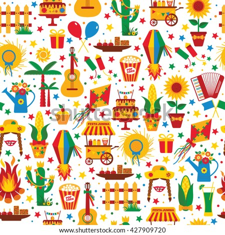 Festa Junina village festival in Latin America. Icons set in bright color. Flat style decoration. Seamless pattern.